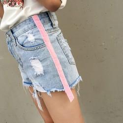Quận Jeans Short Nữ Ống Sọc Hồng