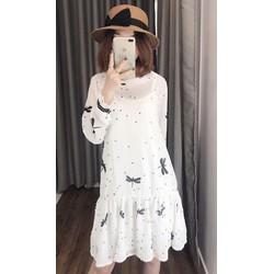 - Đầm suông chấm bi chuồn chuồn tay dài