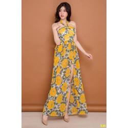 Đầm Maxi Hoa Cổ Yếm Xẻ Tà Quyến Rũ