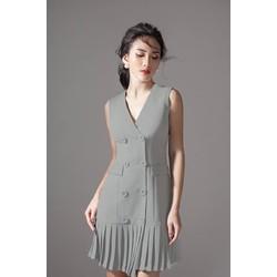 Đầm Dự Tiệc Thiết Kế Suông Kiểu Vest Xếp Ly