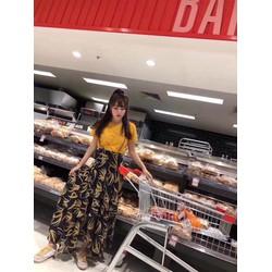 Sét áo thun chân váy xoè in hoạ tiết 3D