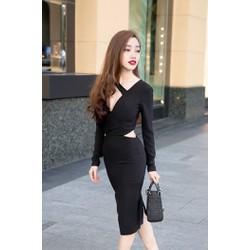 Sale: Đầm body tay dài cut out