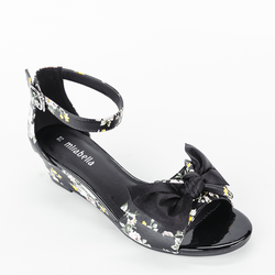 Giày Sandal Xuồng Quai Ngang Gắn Nơ 120 màu đen