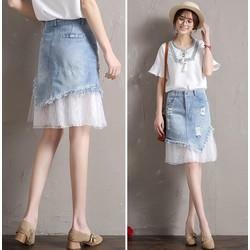 Váy Jean phối Ren nữ tính