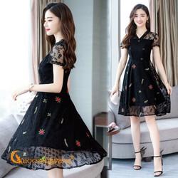 Váy đầm xòe váy đầm ren thêu màu đen dáng dài GLV075