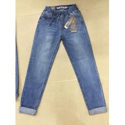 quần jeans lưng thun dài xước nhẹ