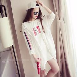 Áo khoác NỮ vải dù viền sọc xanh đỏ hai bên thời trang Hàn Quốc
