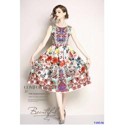 Đầm Xòe In Họa Tiết Hoa Lá Đẹp Sang Trọng Hàng Nhập