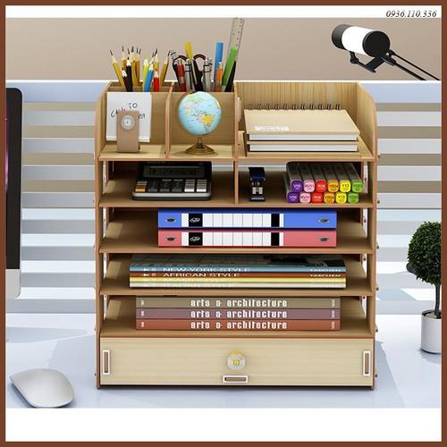 kệ sách - kệ sách gỗ - Kệ sách 6 tầng