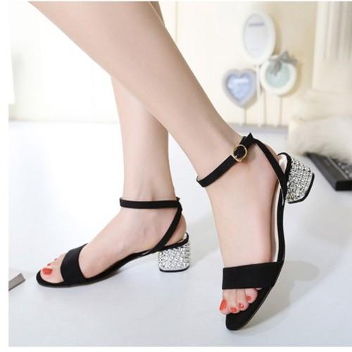 Sandal quai ngang gót cách điệu cao cấp