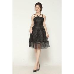 Đầm xòe cổ yếm phối tùng dập ly 4 màu đen, trắng, da, hồng