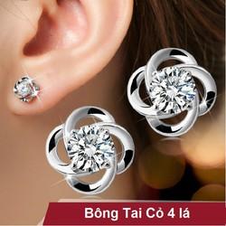 Bông tai cỏ 4 lá kim cương Hàn Quốc
