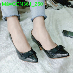 Giày cao gót nữ mũi nhọn đính nơ da bóng kẻ cực đẹp duyên dáng GCN361
