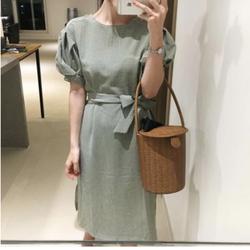 Đầm ngắn tay caro Hàn Quốc