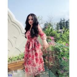 Đầm Xòe Hoa Tay Lỡ Phối Bèo Ngực 4 Tầng Cao Cấp