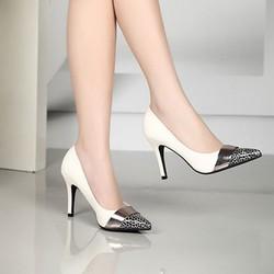 Giày cao gót mũi nhọn da beo phong cách - GCGMN