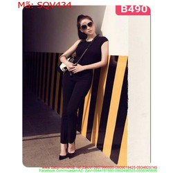 Sét áo sát nách phối quần dài đen sành điệu SQV434