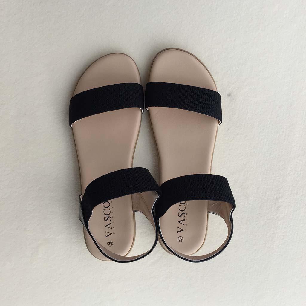 VnBest Shop: Giày Sandal Đế Bệt Quai Hậu Nữ VASCODEN001 - Đen - VASCODEN001 | Sendo.vn