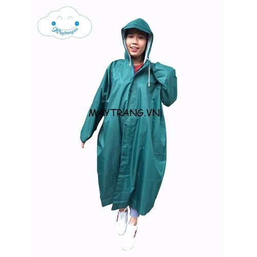 Áo mưa măng tô thời trang màu xanh rêu