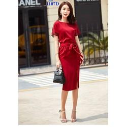 Đầm đỏ xẻ tà cực đẹp