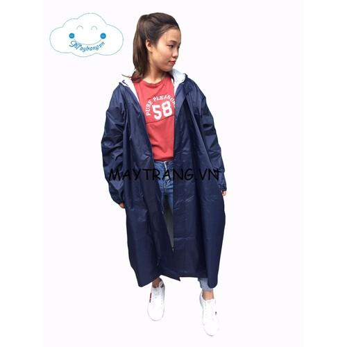 Áo mưa măng tô nữ thời trang màu xanh đen
