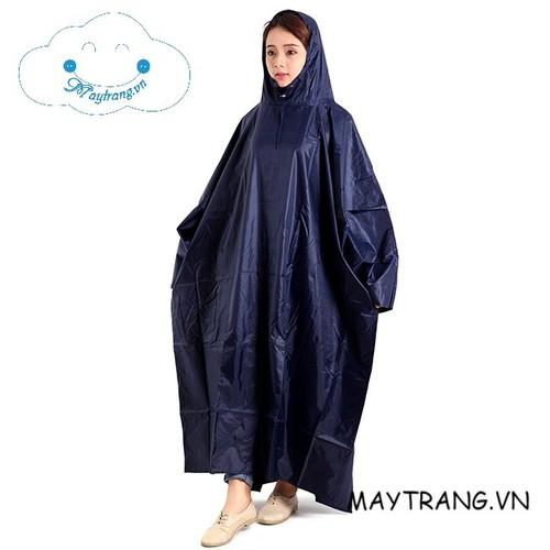 Áo mưa vải dù cao cấp xẻ tà màu xanh đen