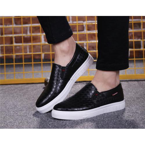 Giày slip on nam da cao cấp siêu mềm siêu nhẹ 2 màu đen trắng