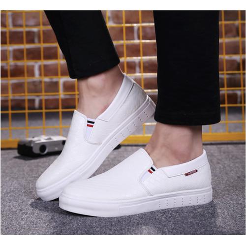 Giày slip on nam da cao  cấp siêu mềm siêu nhẹ 2 màu đen ,trắng