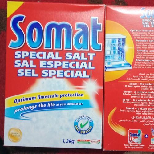 hộp muối rửa  ly ,chén bát Somat Đức hộp 1,2 kg