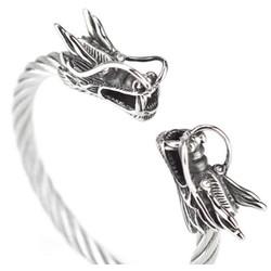 Vòng tay inox nam cáp đầu rồng màu trắng cao cấp - LN022