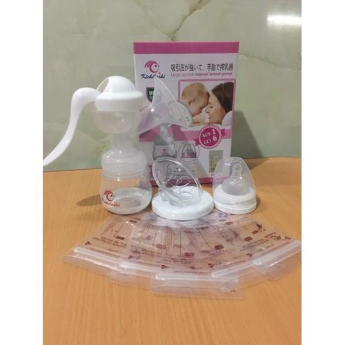 Tặng 6 túi trữ sữa - Máy hút sữa bằng tay Kichilachi MÀU TRẮNG