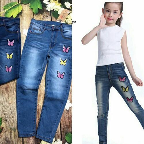 Quần jean dài bé gái bướm xinh 34-50kg