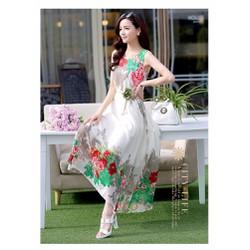 Đầm Maxi Hoa Mẫu Đơn Hàng Nhập Cao Cấp