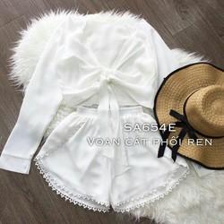 Set áo croptop và quần phối ren