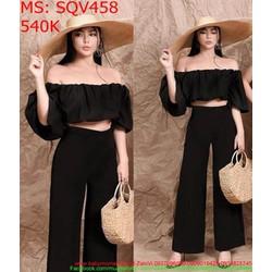 Sét áo kiểu bẹt vai bo thun và quần ống rộng sành điệu cá tính SQV458