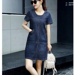 Đầm jean suông dạo phố phối túi cổ tròn thời trang