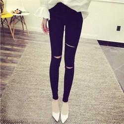 Jeans rách dài cá tính form chuẩn