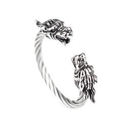 Vòng tay inox nam cáp đầu rồng màu trắng cao cấp - LN013