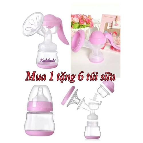 Máy hút sữa bằng tay Kichilachi 2 cấp độ hút Màu hồng