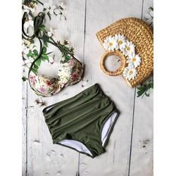 Bikini 2 mảnh áo cúp hoa phối quần xanh rêu