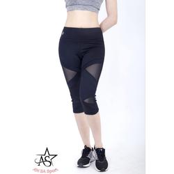 Quần legging lửng thể thao nữ phối lưới cao cấp-QL3