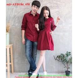 Set áo váy cặp tình nhân phối ren sắc đỏ yêu thương ATD184