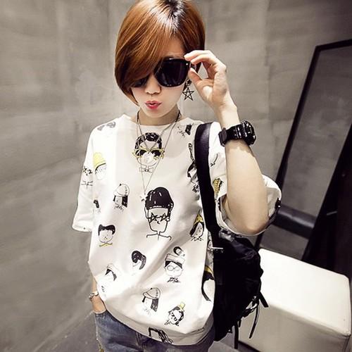 Áo thun nữ form rộng tay ngắn cổ tròn thời trang Hàn Quốc