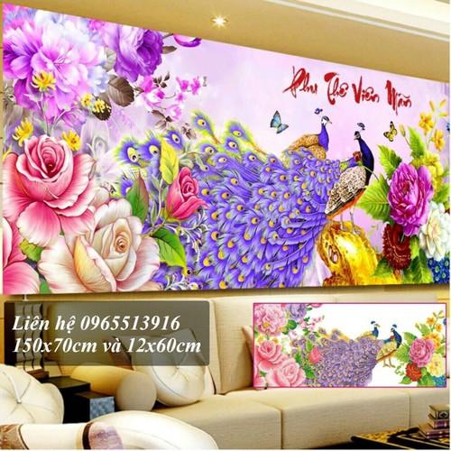 tranh đính đá chim công tuyệt đẹp 120x60