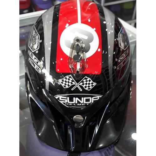 Nón bảo hiểm Sunda tem đen