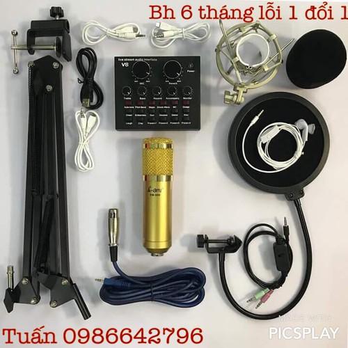 Combo Thu Âm Bm900-Card V8 đầy đủ phụ kiện bh 6 tháng