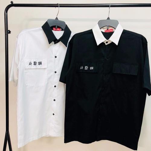 Áo sơ mi Hàn - Sơ mi phối cổ - Sơ mi túi hộp thêu chữ Hàn Quốc - Sơ mi saranghe - Saranghe Shirt Unisex - Sơ mi nam nữ chất đẹp tay lửng - Sơ mi tay lỡ
