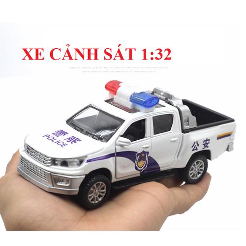 Mô hình Xe ô tô cảnh sát đồ chơi tỉ lệ 1:32 bằng sắt có đèn và âm thanh