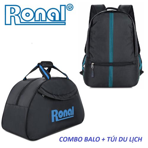 Combo ba lô, túi du lịch Ronal CB02 - Đen xanh