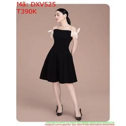 Đầm xòe bẹt vai thắt tay nơ xinh xắn màu đen sang trọng DXV525